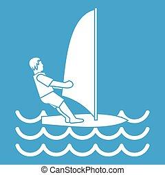 Man on windsurf icon white isolated on blue background...
