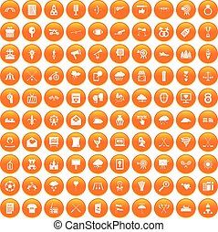 100 arrow icons set orange - 100 arrow icons set in orange...