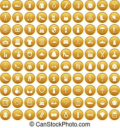 100 womens accessories icons set gold