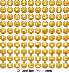 100 water supply icons set gold - 100 water supply icons set...