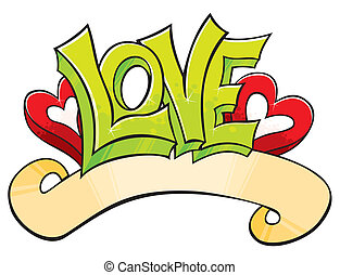 Graffiti with Love - Love word with hearts drawed in...