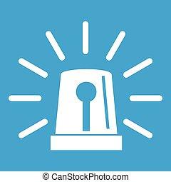 Flashing emergency light icon white