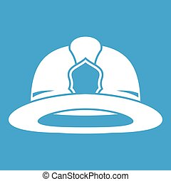 Fireman helmet icon white