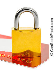 Lock and credit card isolated on white background