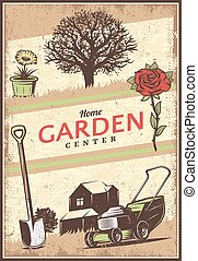 Vintage Colored Gardening Poster - Vintage colored gardening...
