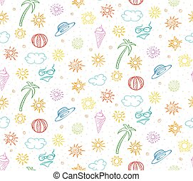 Doodle Colorful Summer Vacation Seamless Pattern - Doodle...