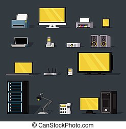 Colorful Wireless Technology Objects Set - Colorful wireless...