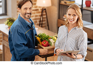 Smart progressive woman ordering at home delivery