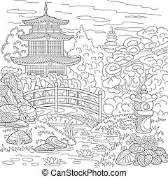 Zentangle stylized pagoda - Coloring page of oriental...