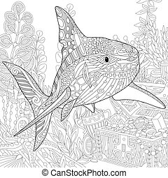 Zentangle stylized shark - Coloring page of coral reef....
