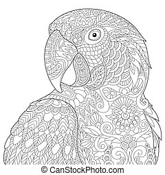 Zentangle stylized macaw - Coloring page of macaw parrot,...