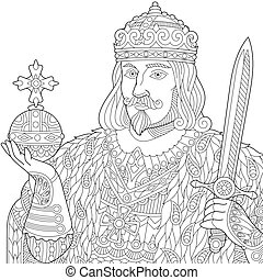 Zentangle stylized king - Coloring page of king in a crown...