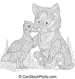 Zentangle stylized cat and duck - Coloring page of cat and...