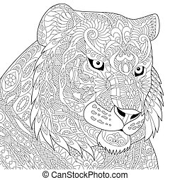 Zentangle stylized tiger - Coloring page of tiger. Freehand...
