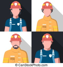 Flat vector avatars of fire fighters - Avatars of fire...