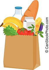 Groceries - Paper bag with groceries: milk, bread, fruits,...