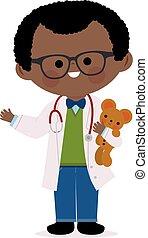 Male pediatrician doctor holding a teddy bear. - Vector...