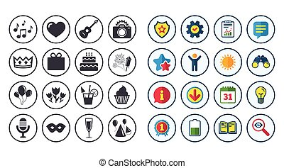 Set of Celebration, Birthday and Party icons.