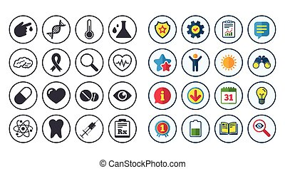 Set of Healthcare, Medicine and Diagnosis icons. Tooth,...