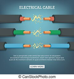 Poster with cartoon illustration of electrical cable wires...