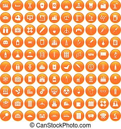 100 chemical industry icons set orange - 100 chemical...