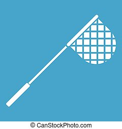 Fishing net icon white isolated on blue background vector...