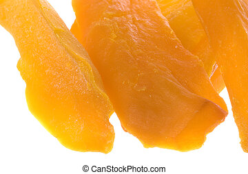 Dehydrated Sliced Mango Isolated - Isolated macro image of...