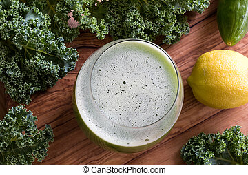 Vegetable juice with kale, cucumber, and lemon