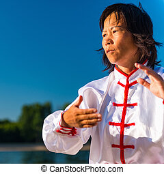 Tai Chi on lake