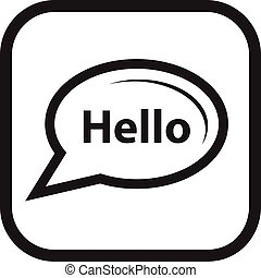 talk bubble icon - hello talk bubble icon within a square....