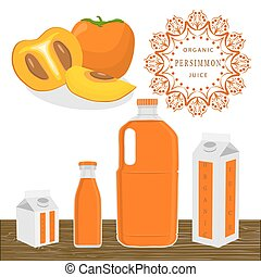 The theme persimmon - Vector illustration logo for whole...