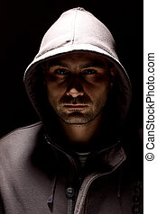 man in a hood - Portrait of a young man in a hood