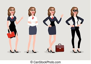 Vector illustration isolatede. Elegant pretty business woman in formal clothes. Base wardrobe, feminine corporate dress code. Collection of full length portraits of business woman.