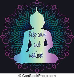 Meditation and relaxation - sketch of neon buddha-art poster