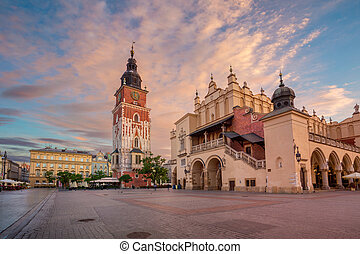 Krakow. - Image of Market square Krakow, Poland during...