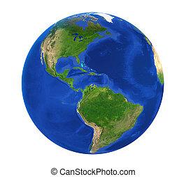 Earth Globe America View Isolated