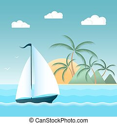 Sail boat on the waves. Tropical island with palm trees and mountains. The sun, the clouds, the seagulls. Summer holiday concept.