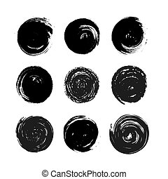 Set of black grunge hand-drawn round spots isolated on white