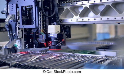 Manufacturing of electronic chips. High-tech production...