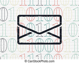 Finance concept: Email on wall background - Finance concept:...