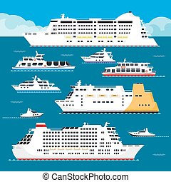 Seagoing vessels of all shapes and sizes set. Spacious...