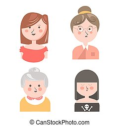 Women from different generations isolated funny avatars set...
