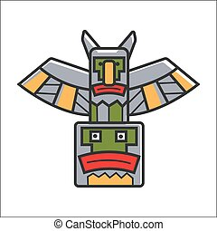 Traditional Indian totem - Vector illustration of...