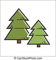 Green pine trees - Vector illustration of two green colored...