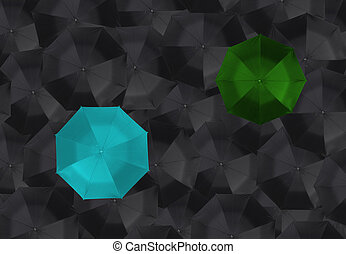 Blue with green umbrella and many black umbrellas. business leader different concept.