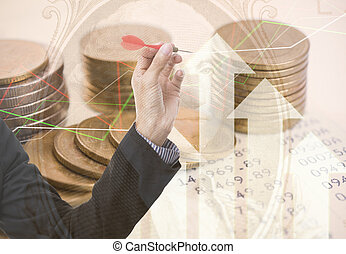 Double exposure gold coins money and graph economy for investment finance and banking concept.