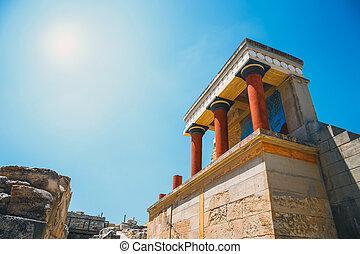 palácio, panorâmico, minoan, knossos, grécia, ruínas, crete