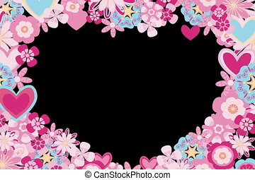 heart frame of flowers with alpha