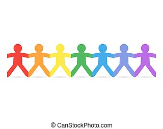 Paper People Rainbow - Paper chain cut out people in rainbow...