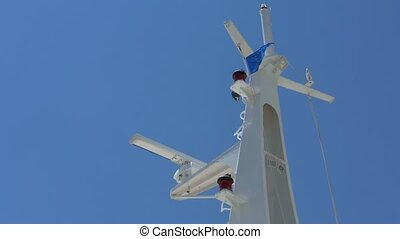Mast with Lights and Navigation Devices - Ship mast with...